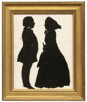 A 19th Century Full Length Profile Paper Cut Silhouette Of A Lady & Gentleman