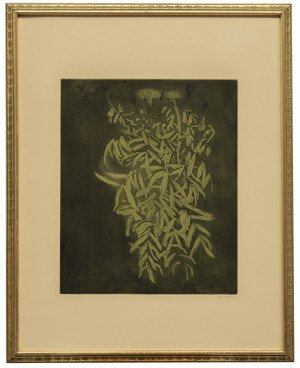 A Vintage Framed Leonard Baskin Colored Etching Marigold