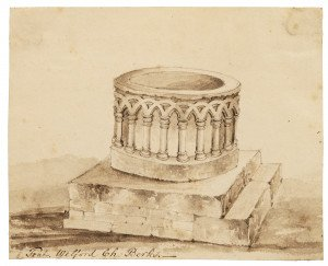 An Antique 18th/19th Century British Architectural Ink Study Sketch Welford Ch. Berks