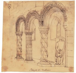 An Antique 18th/19th Century British Architectural Interior Sketch Pittington Ch. Durham