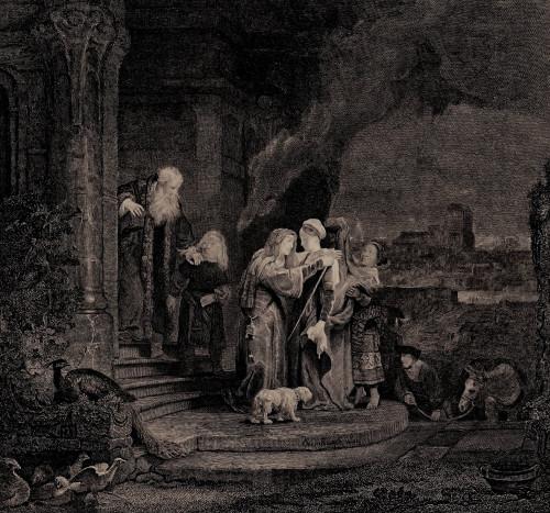 A 19th Century Engraving The Salutation Rembrandt Pinxit. J Burnett Sculpsit.