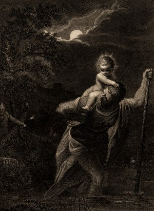 19c. Elsheimer Engraving Saint Christopher Art Print
