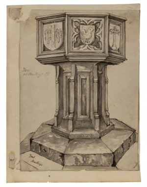 An Antique 18th/19th Century British School Architectural Pillar Study Watercolor Painting Fountain at Hastings Church