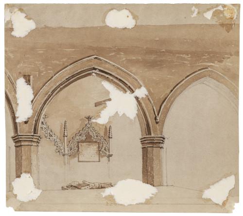 An Antique British School 18th/19th Century Church Architectural Watercolor Datchet Church Berkshire England