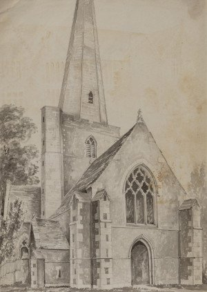 An Antique British School 18th/19th Century Church Architectural Watercolor Painting