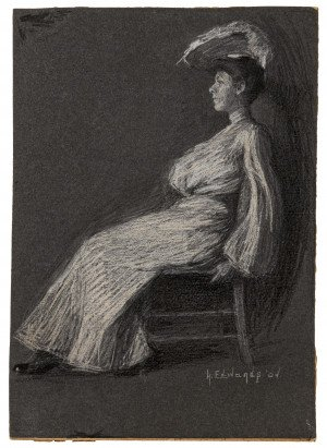 An Antique Edwardian Full Portrait Pastel of A Lady Signed H. Edward Dated 04'