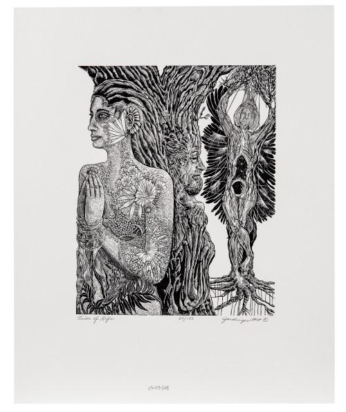 "A Vintage Wood Engraving Print By Judith Jaidinger ""Tide Of Life"""