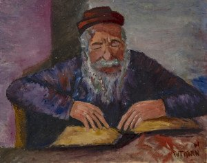 A Vintage 1961 Oil On Canvas Judaica Painting Of A Man Studying Scripture