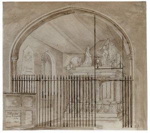 British School Architectural Interior Watercolor Study Rotherfield Gray Church Okon July 1841