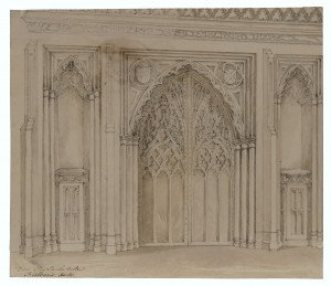 British School Architectural Interior Watercolor Gate Study Door way south aisle Th. Albans Herts