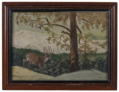 A Vintage Primitive Folk Art Style Still Life Nature Scene Pennsylvania Deer Helen L. Weatherel 1946