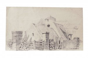 A 19th Century English Primitive Farm Scene Drawing