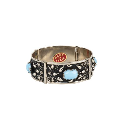 A Vintage Italian Faux Murano Glass Inlaid Costume Jewelry Bracelet