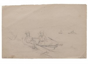 An Antique Signed Primitive Shore Scene Drawing Study Dated July 4, 90
