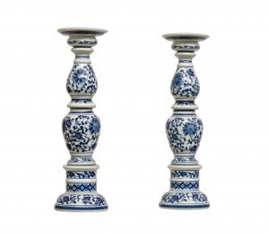 A Pair of Chinese Blue & White Porcelain Lotus & Scroll Candlesticks
