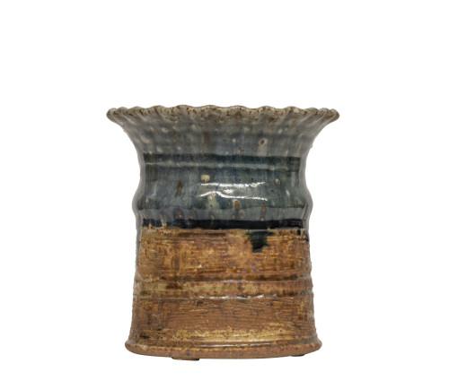 A Vintage Signed Japanese Raku Style Art Pottery Vase