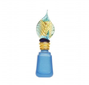 A Vintage Blue Glass and Gilt Leaf Top Decorated Scent Bottle