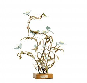 "A Vintage Chinese Contemporary Art Metal & Enamel Decorated Tree Sculpture Signed ""Contemplation"" By Hing Woo Pang"