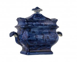 An Antique Historic Staffordshire Sugar Bowl Mount Vernon, The Seat Of The Late General Washington