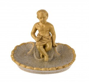 An Antique Signed Anton Tschinkel Salt Glazed Yellow Ware Dish A Young Boy Seated