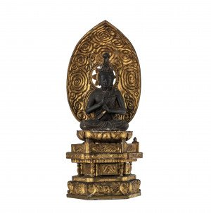 A Japanese Edo-Meiji Period Gilt Wood Polychrome Shrine of Buddha