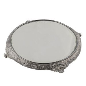 A Vintage English Style Silver-Plated Mirrored Plateau