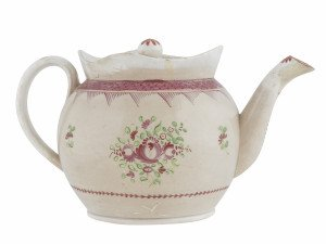 An Early English 19th Century Antique Pearl Ware Teapot