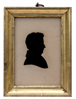 An Antique Gilt Decorated Framed Silhouette Reverse Cut of A Gentleman