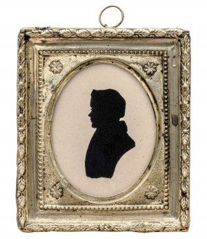 An Antique Gilt Metal Framed Silhouette Reverse Cut of A Young Man