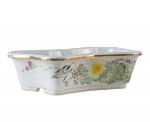 A Chinese Porcelain Famille Rose Decorated & Inscribed Planter