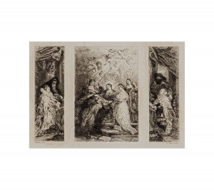 An Antique Etching Saint Ildephonsus After Rubens By W. Unger