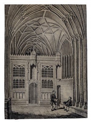 An 18th-19th Century Watercolor Painting Of A Chapel Interior With English Royal Bloodline Tree Fragment