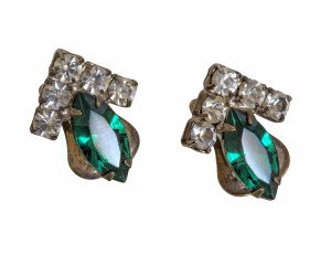 An Early Vintage Pair Of Rhinestone & Faux Emerald Glass Art Deco Earrings