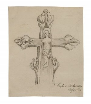 An 18th-19th Century British Architectural Drawing Study Of The Crucifixion Croxden Abbey Staffordshire England