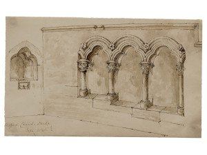 Welford Church Berks Sep 1846 British School 19th Century Ink Drawing