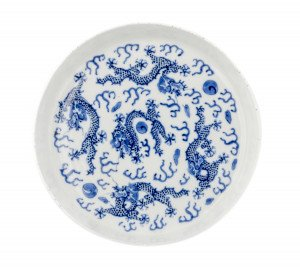 A Late Qing Dynasty Chinese Porcelain Blue & White Man Tang Fu Ji Mark Marked Dish