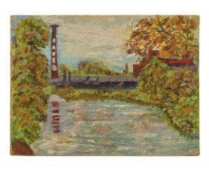 A Vintage Amateur Artist Oil On Canvas Board Landscape Painting of River & Industry R.I. 57'
