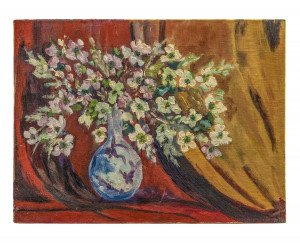 A Vintage Amateur Oil On Canvas Still Life Vase & Flowers Paris 1960