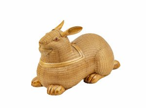 A Vintage Chinese Woven Wicker Rabbit Form Basket