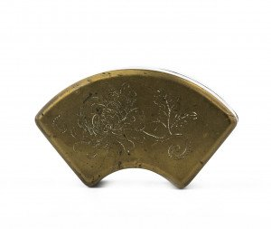 A Vintage Brass Toned Floral Decorated Fan Shaped Box