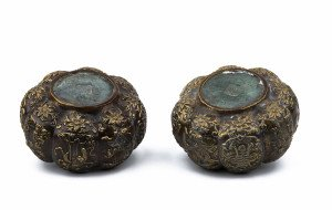 A Pair Of  Vintage Chinese Bronzed Mellon Form Jars