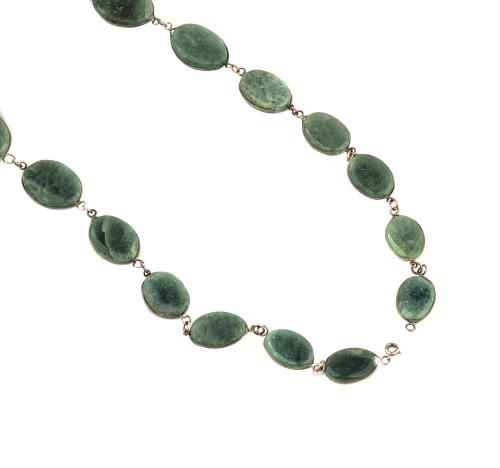 A Vintage Green Hard Stone Medallion Necklace