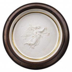 An Antique Plaster Mounted Angel Decorated Framed Plaque