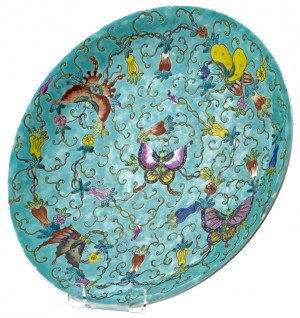 An Antique Chinese Butterfly Decorated Charger Guangxu Seal