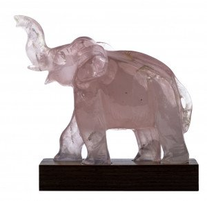 A Chinese Vintage Quartz Carved Elephant