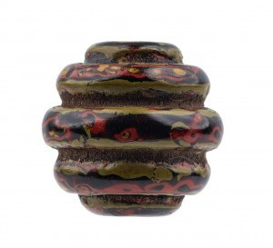 An Antique Japanese Layered Lacquer Carved Ojime Bead