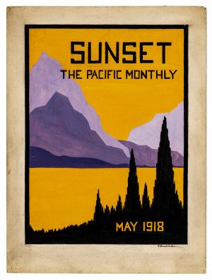 An Original Hand Painted Sunset The Pacific Monthly May 1918 Illustration Art Signed Cover