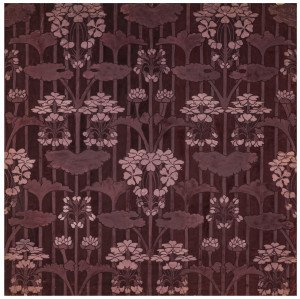 An Antique Art Nouveau Hand Painted Burgundy Toned Wall Paper Panel Painting