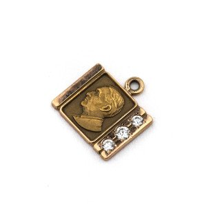 A Vintage 10K Gold & Diamond Commemorative Kodak Pendant