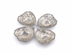 A Set Of Four Gorham Holloware Sterling Silver Heart Form Dishes